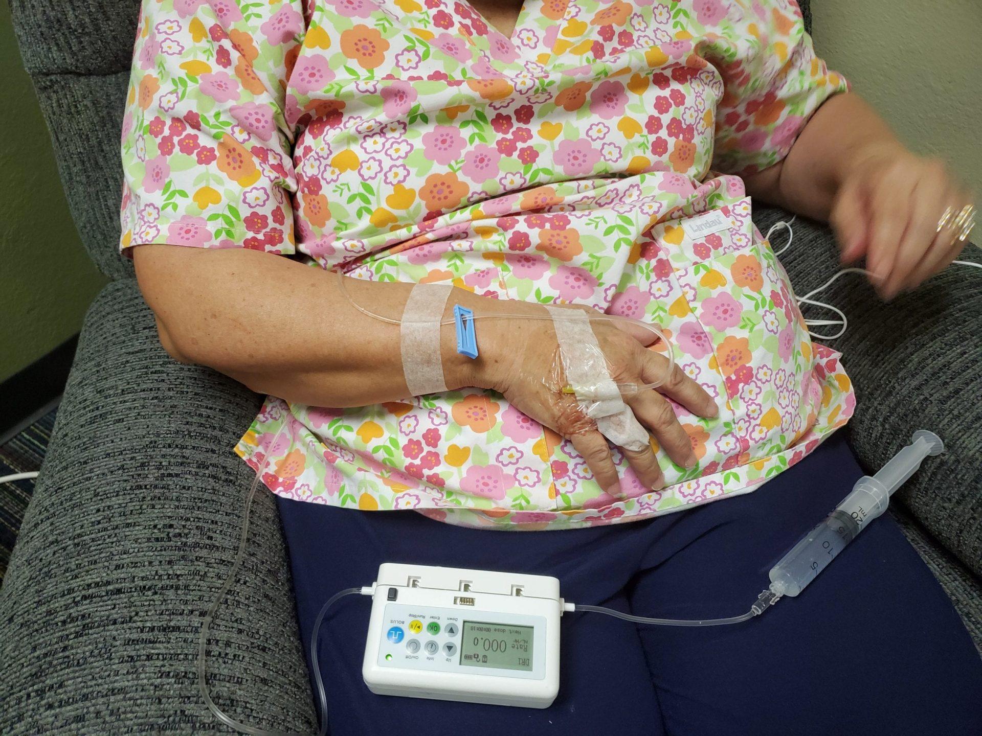 diabetes relief patient in recliner